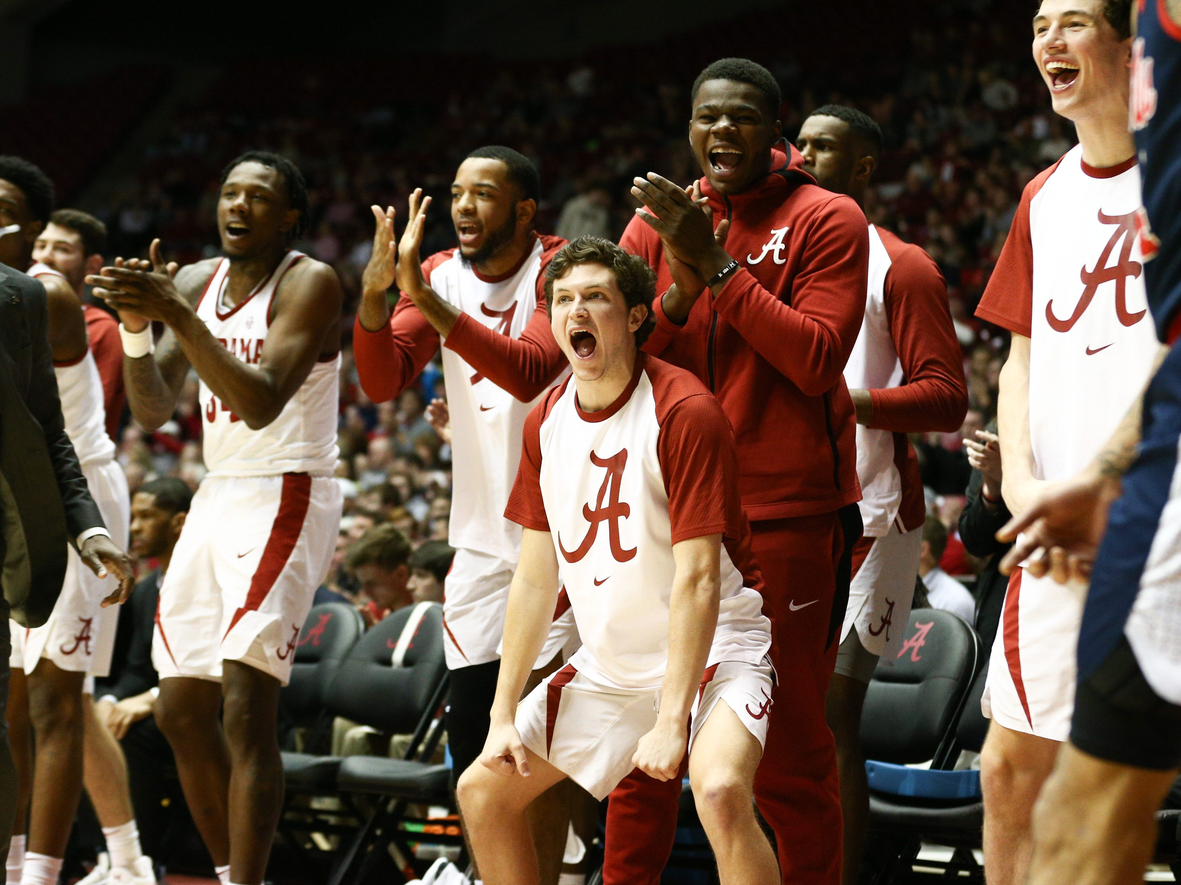 Jan 22, 2019; Tuscaloosa, AL, USA; Alabama Crimson Tide guard Lawson Schaffer (24) reacts after a teammates play against Mississippi Rebels during first half at Coleman Coliseum. Mandatory Credit: Marvin Gentry-USA TODAY Sports