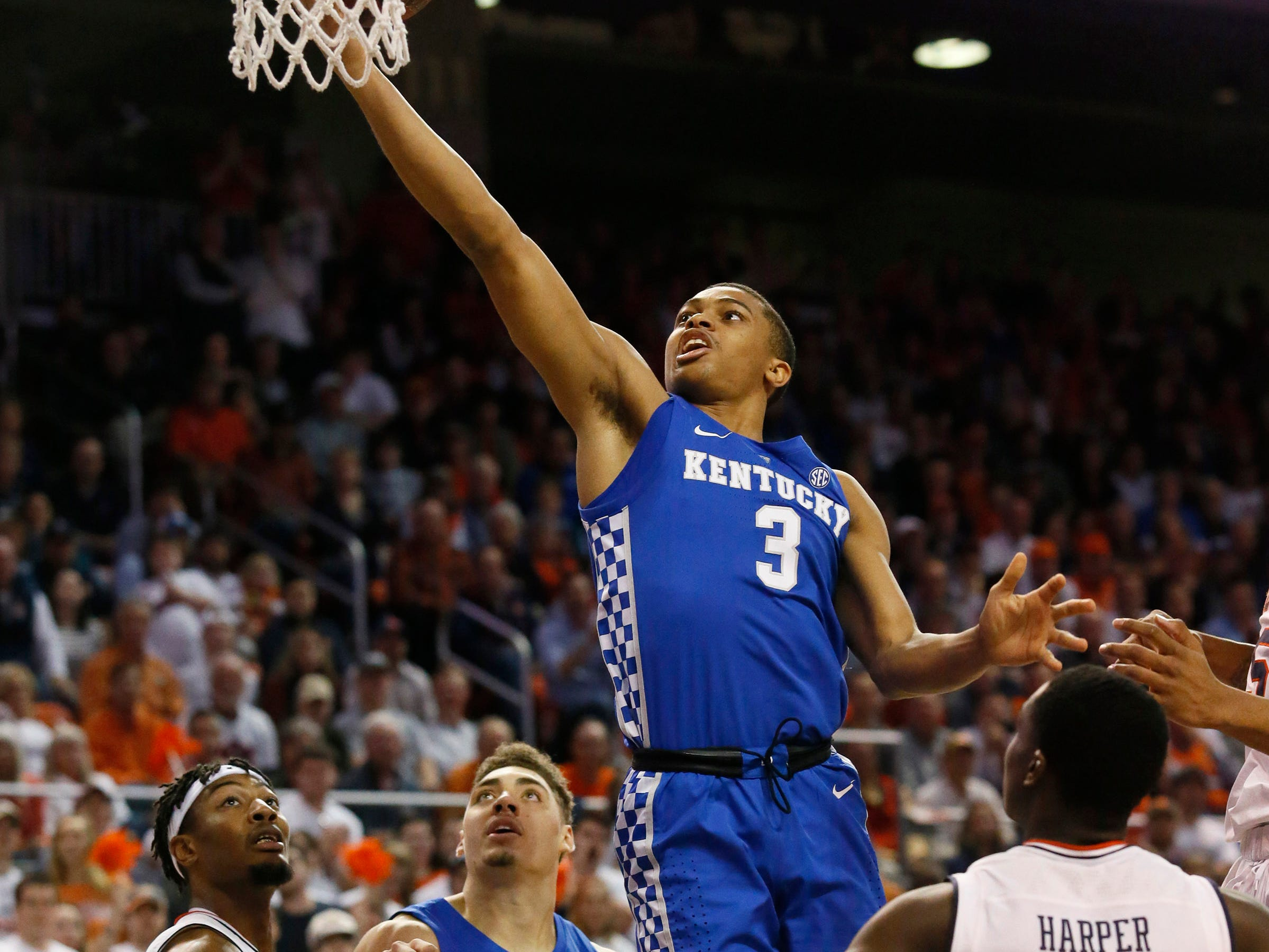 Jan 19, 2019; Auburn, AL, USA; Kentucky Wildcats guard Keldon Johnson (3) takes a shot against the Auburn Tigers during the first half at Auburn Arena. Mandatory Credit: John Reed-USA TODAY Sports