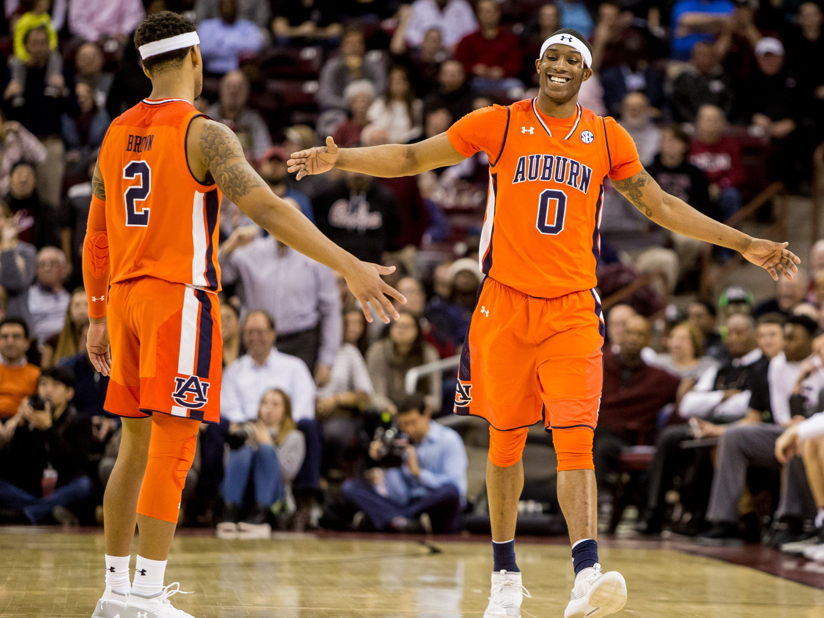 Jan 22, 2019; Columbia, SC, USA; Auburn Tigers forward Horace Spencer (0) smiles with guard Bryce Brown (2) after fouling out against the South Carolina Gamecocks in the second half at Colonial Life Arena. South Carolina won 80-77. Mandatory Credit: Jeff Blake-USA TODAY Sports
