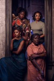 "Crystal Sha'nae (Nina Simone/Peaches), Gabrielle Beckford (Sweet Thing), Darlene Hope (Sarah), and Soara-Joye Ross (Sephronia) in Alabama Shakespeare Festival's production of ""Nina Simone: Four Women."""
