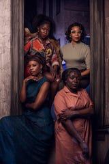 "Crystal Sha'nae (Nina Simone/Peaches), Gabrielle Beckford (Sweet Thing), Darlene Hope (Sarah), and Soara-Joye Ross (Sephronia) in Alabama Shakespeare Festival's production of ""Nina Simone: Four Women."""