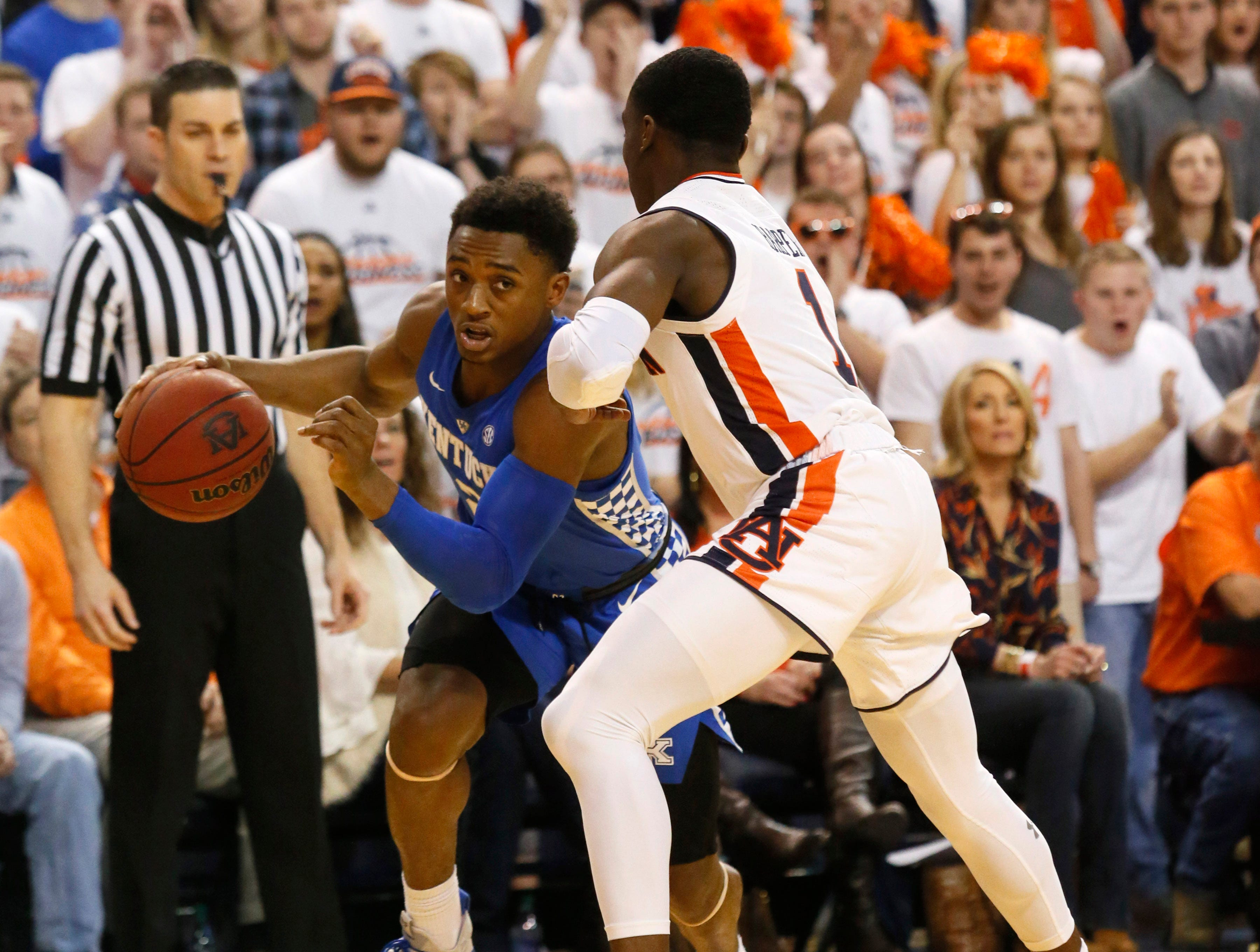 Jan 19, 2019; Auburn, AL, USA; Auburn Tigers guard Jared Harper (1) pressures Kentucky Wildcats guard Ashton Hagans (2) during the first half at Auburn Arena. Mandatory Credit: John Reed-USA TODAY Sports