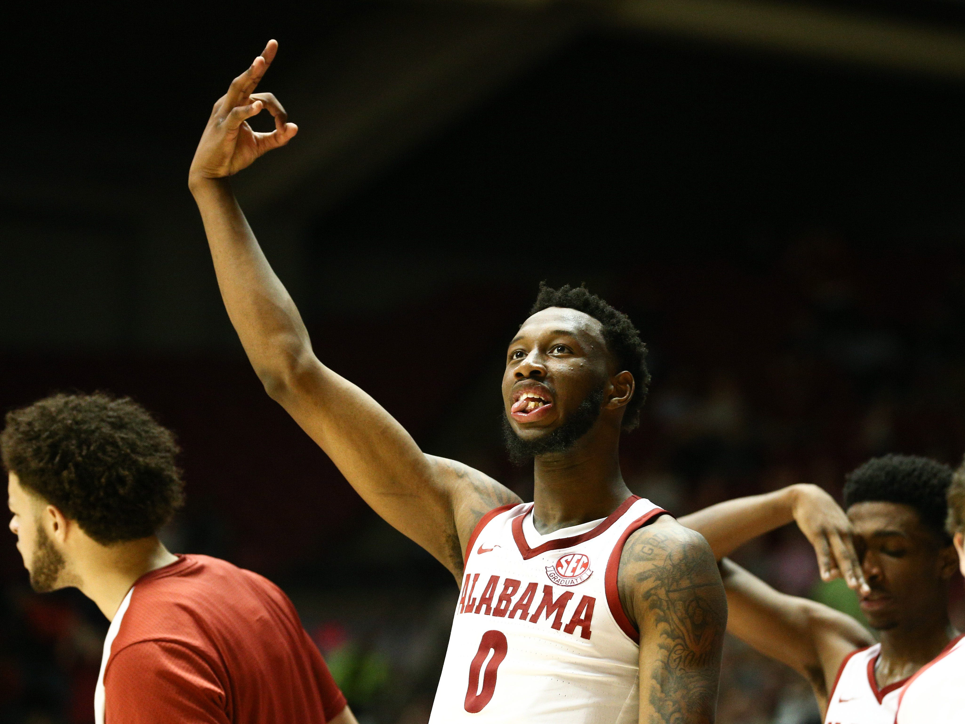 Jan 22, 2019; Tuscaloosa, AL, USA; Alabama Crimson Tide forward Donta Hall (0) reacts as a teammate hits a three point basket against the Mississippi Rebels during the second half at Coleman Coliseum. Mandatory Credit: Marvin Gentry-USA TODAY Sports