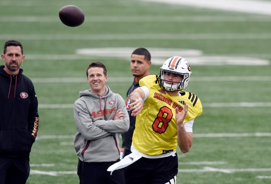 South quarterback Jarrett Stidham of Auburn (8) passing during the South squad 2019 Senior Bowl practice at Ladd-Peebles Stadium on Jan. 22, 2019 in Mobile.