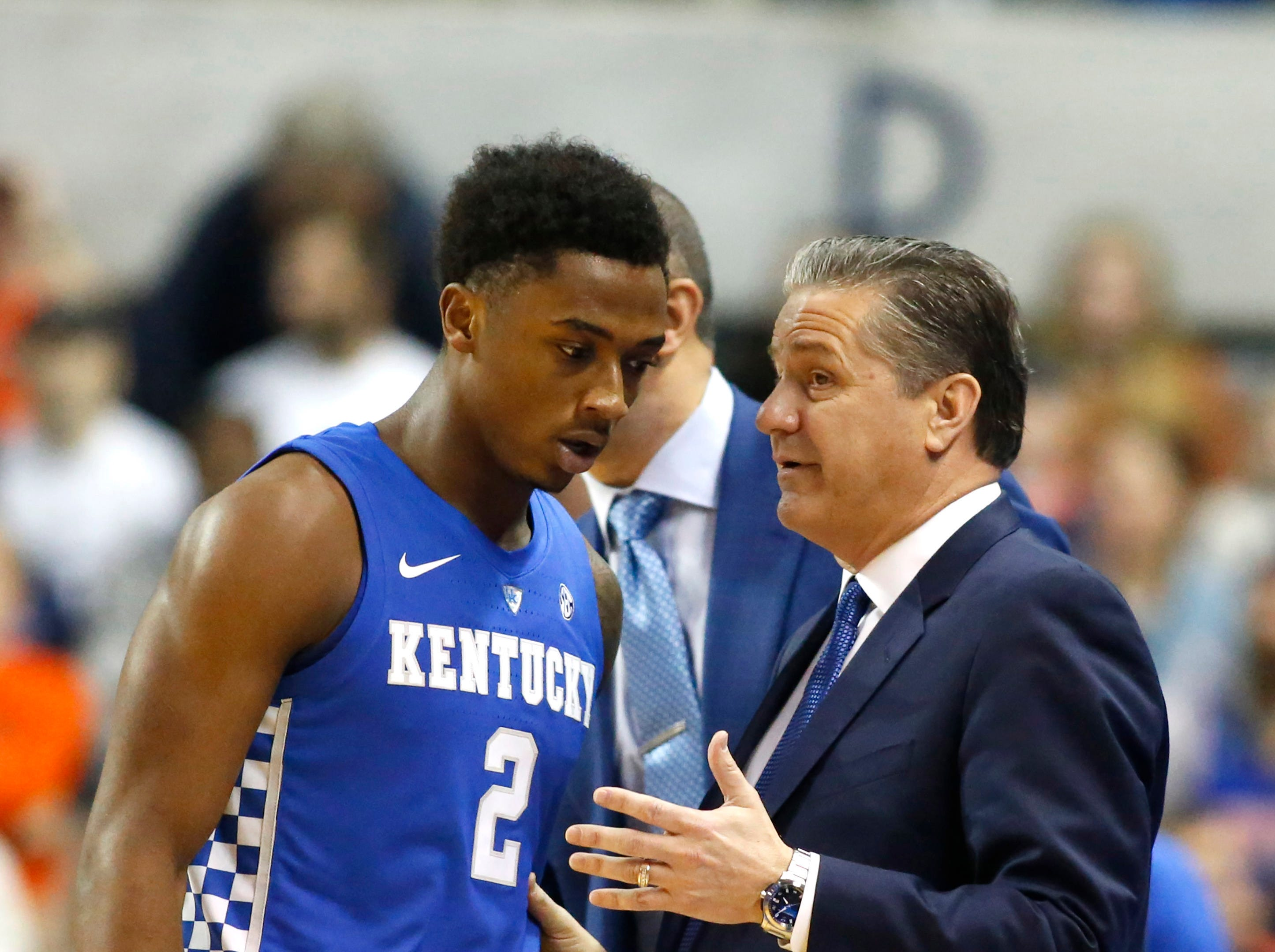 Jan 19, 2019; Auburn, AL, USA; Kentucky Wildcats guard Ashton Hagans (2) talks with coach John Calipari during the first half against the Auburn Tigers at Auburn Arena. Mandatory Credit: John Reed-USA TODAY Sports