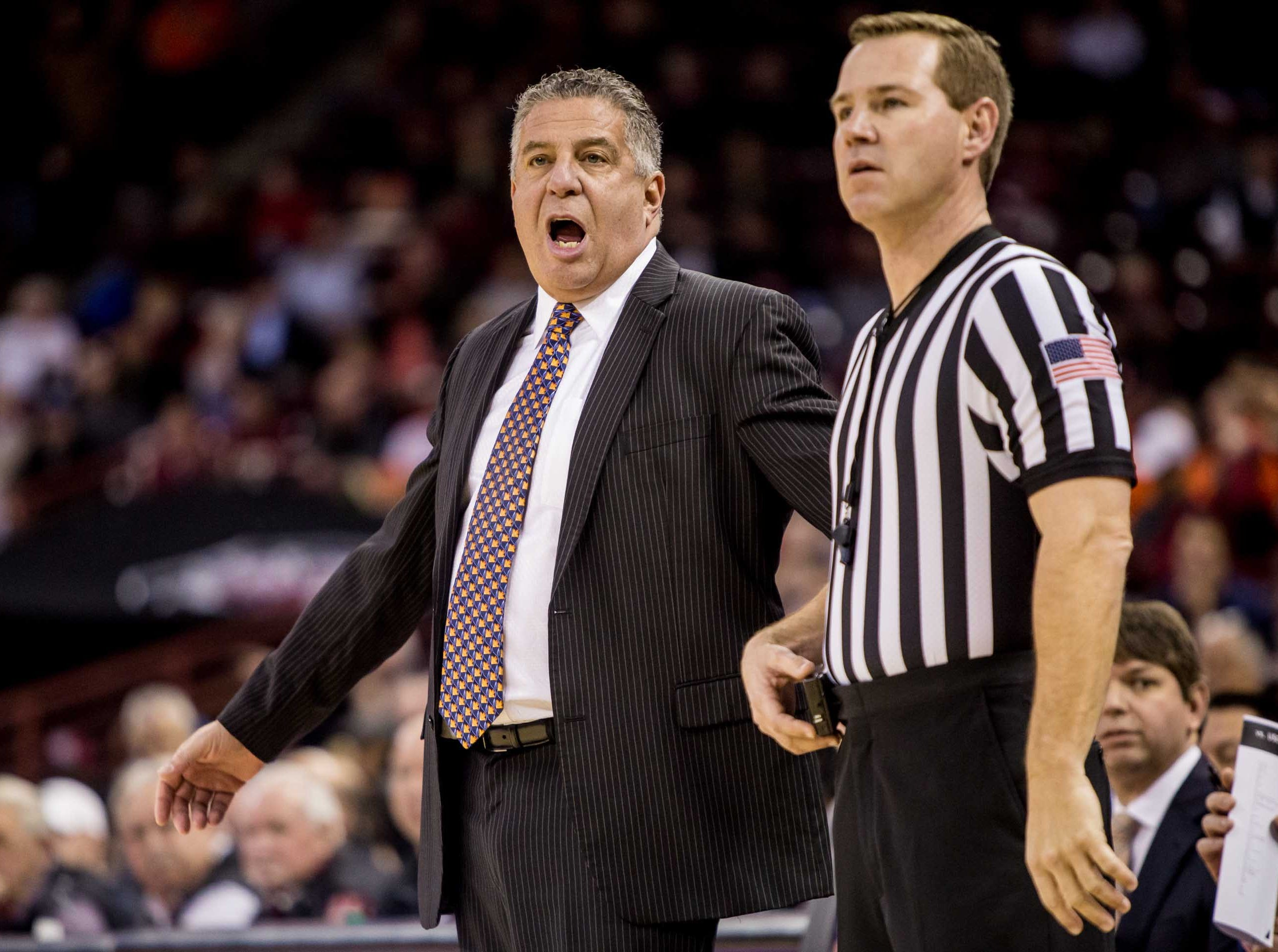 Jan 22, 2019; Columbia, SC, USA; Auburn Tigers head coach Bruce Pearl disputes a call against the South Carolina Gamecocks in the first half at Colonial Life Arena. Mandatory Credit: Jeff Blake-USA TODAY Sports