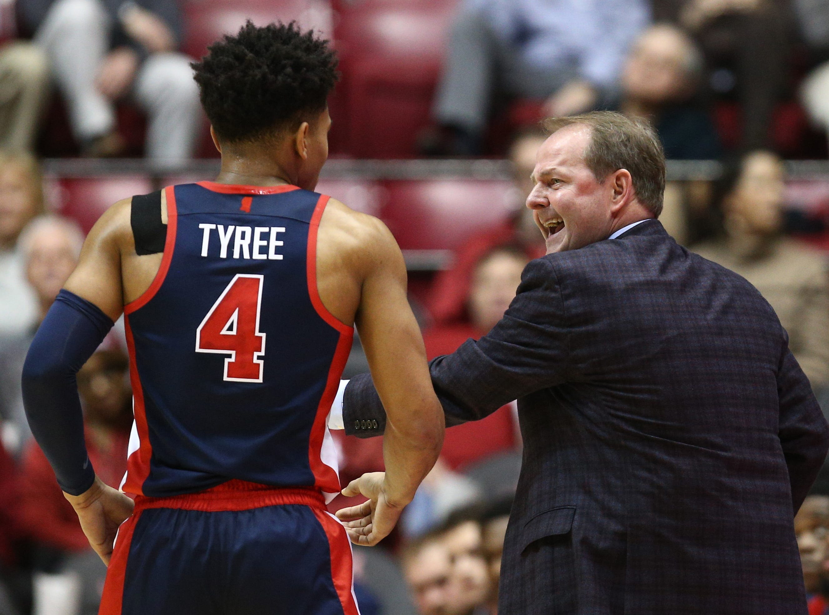 Jan 22, 2019; Tuscaloosa, AL, USA; Mississippi Rebels head coach Kermit Davis talks to Mississippi Rebels guard Breein Tyree (4) during the first half in the game against Alabama Crimson Tide at Coleman Coliseum. Mandatory Credit: Marvin Gentry-USA TODAY Sports