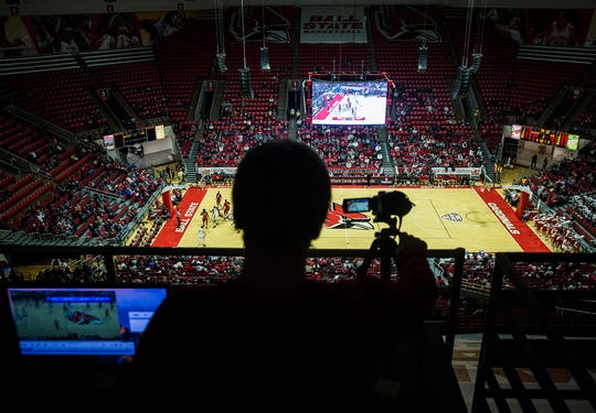 Ball State's management team records a game for coaches and players at Worthen Arena Tuesday, Jan. 22, 2018.