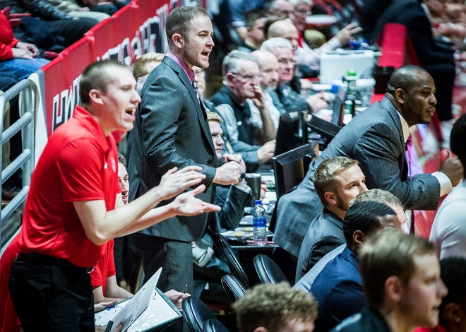Ball State basketball graduate manager Winston Yergler, center, stands during a game against Miami at Worthen Arena Tuesday, Jan. 22, 2018.
