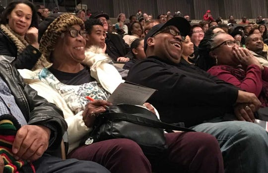 Members of the audience laugh at MLK Day speaker Michael Eric Dyson's joke at Pruis Hall on the Ball State University campus on Jan. 22.