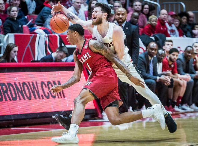 Ball State's Tayler Persons struggles against Miami's defense during their game at Worthen Arena Tuesday, Jan. 22, 2018.