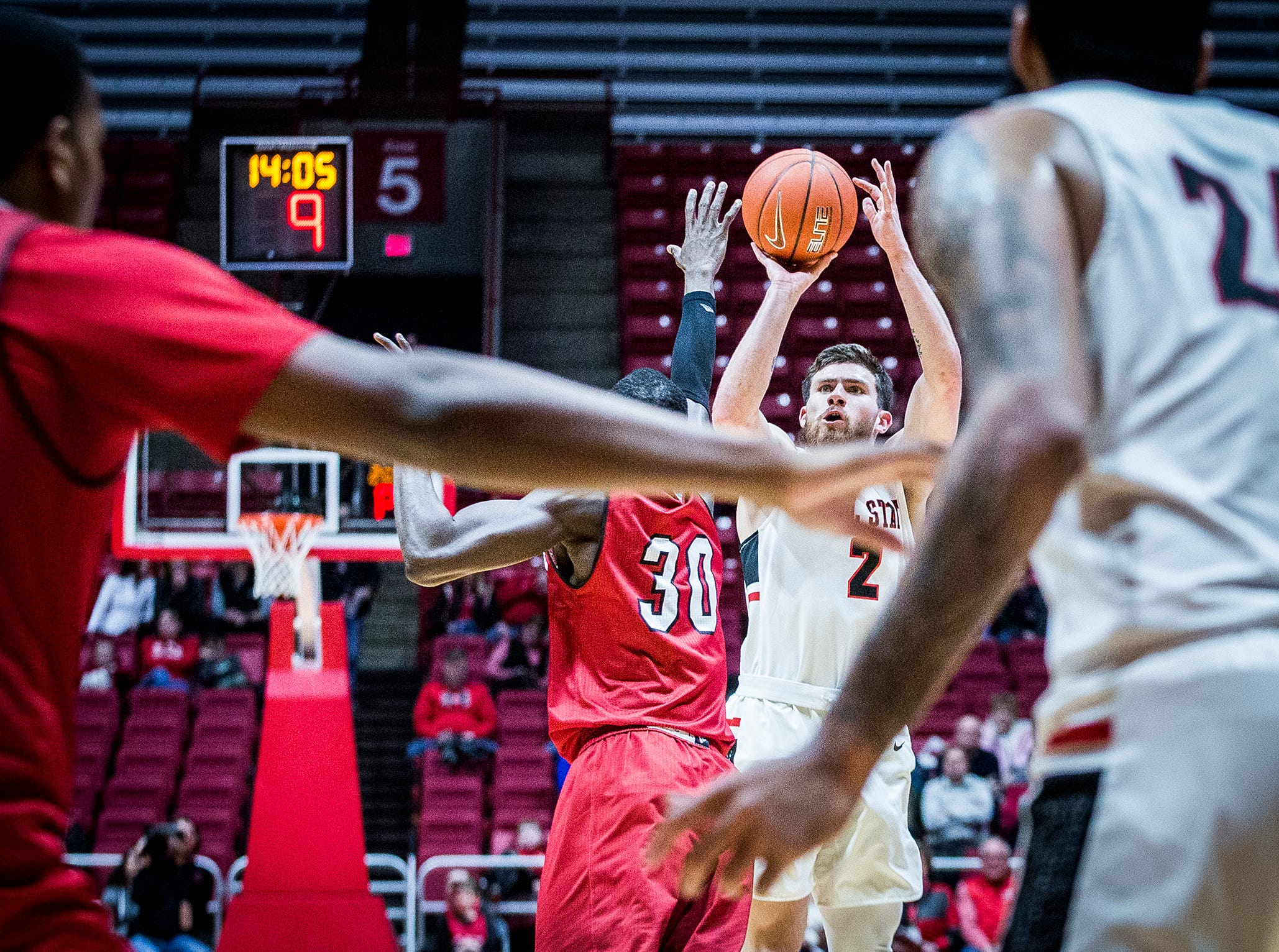 Ball State's Tayler Persons shoots past Miami's defense during their game at Worthen Arena Tuesday, Jan. 22, 2018.