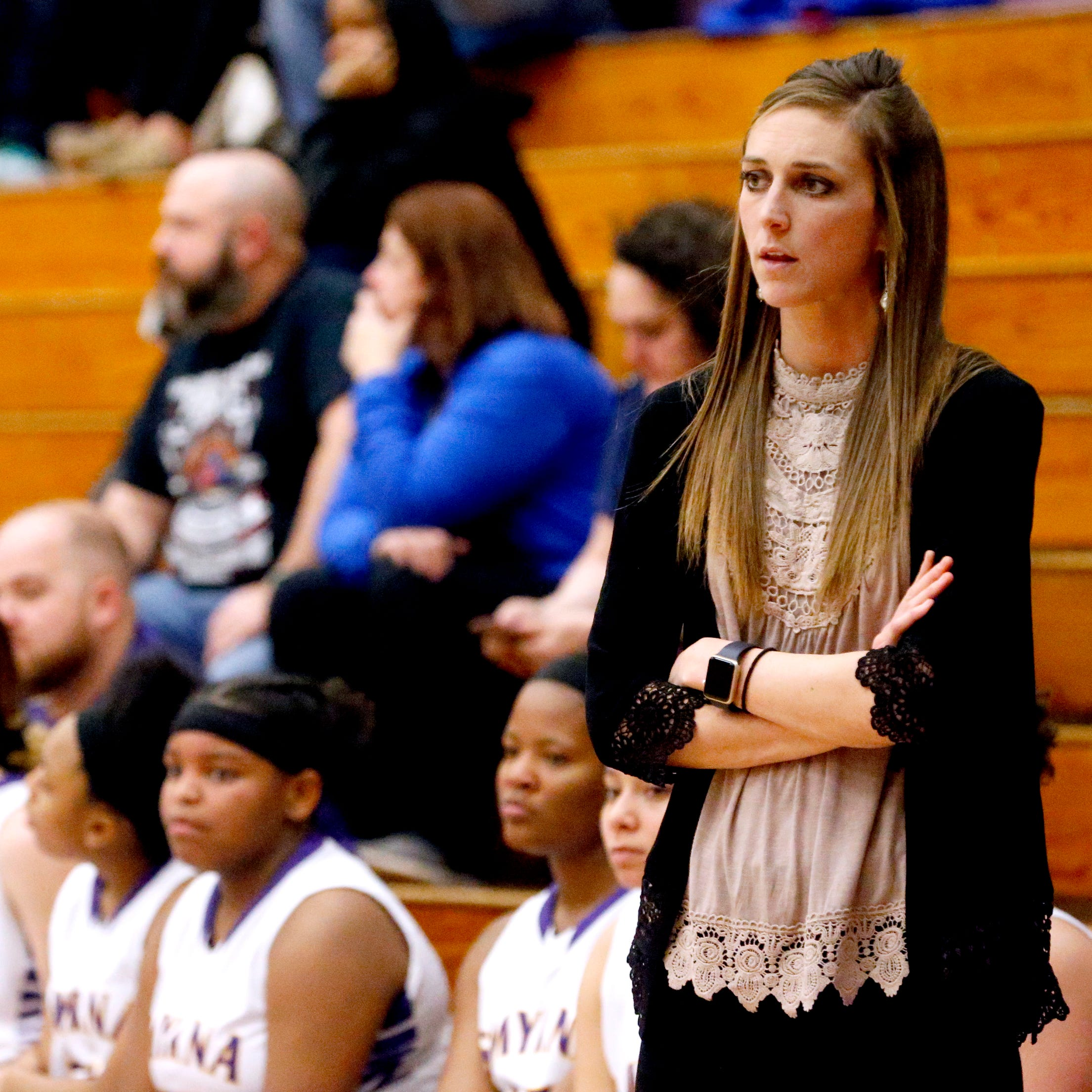 Smyrna's head coach Jordyn Hartsfield on the sidelines during the game against Oakland on Tuesday Jan. 22, 2019.