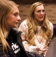 As Madison Moore listens, Shawna Taylor, right, talks about her dependence on opioids and how the Rutherford County Drug Court has helped change her life on Wednesday, Jan. 23, 2019.