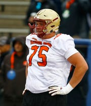 Guard Chris Lindstrom of Boston College during practice Tuesday for the Senior Bowl.