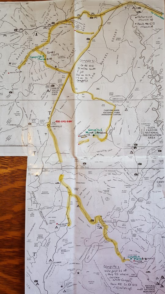 Before leaving on his six-day canyoneering trip in Utah, David Cicotello left a detailed map with his then-girlfriend Rhonda Hoffman. He marked every planned campsite, highlighted all the possible roads he and his brother might take, and even wrote down the number for the Bureau of Land Management office near Wayne County.  The map became a valuable tool for search and rescue teams looking for the Cicotello brothers.