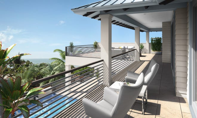 Captiva model at Hill Tide Estates features a covered deck and two sundecks.