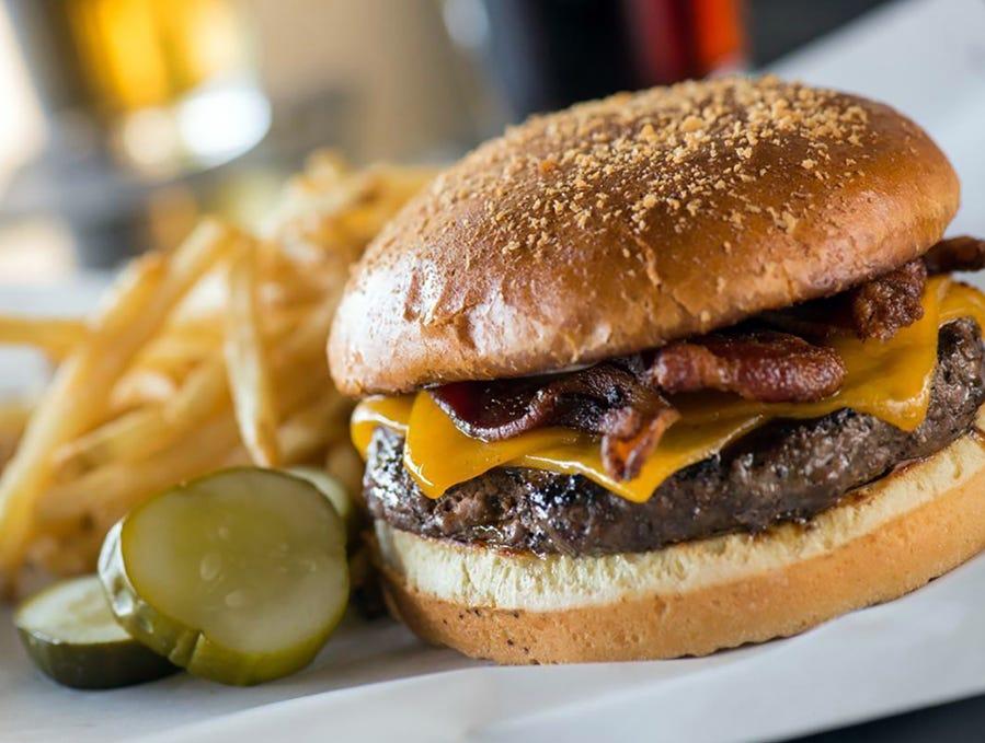 The BBQ Bacon Cheddar Burger at Yard House.