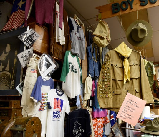 A Boy Scout uniform from the late 1910s on display at Cornell Clothing Company in downtown Newark. The uniform belonged to store owner Robin Pierce's grandfather. The local clothing retailer also sells uniforms and other equipment for area Boy Scouts.