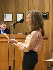 Saddle River Arts Council President Marie Harper speaks on behalf of Mayor Albert Kurpis.
