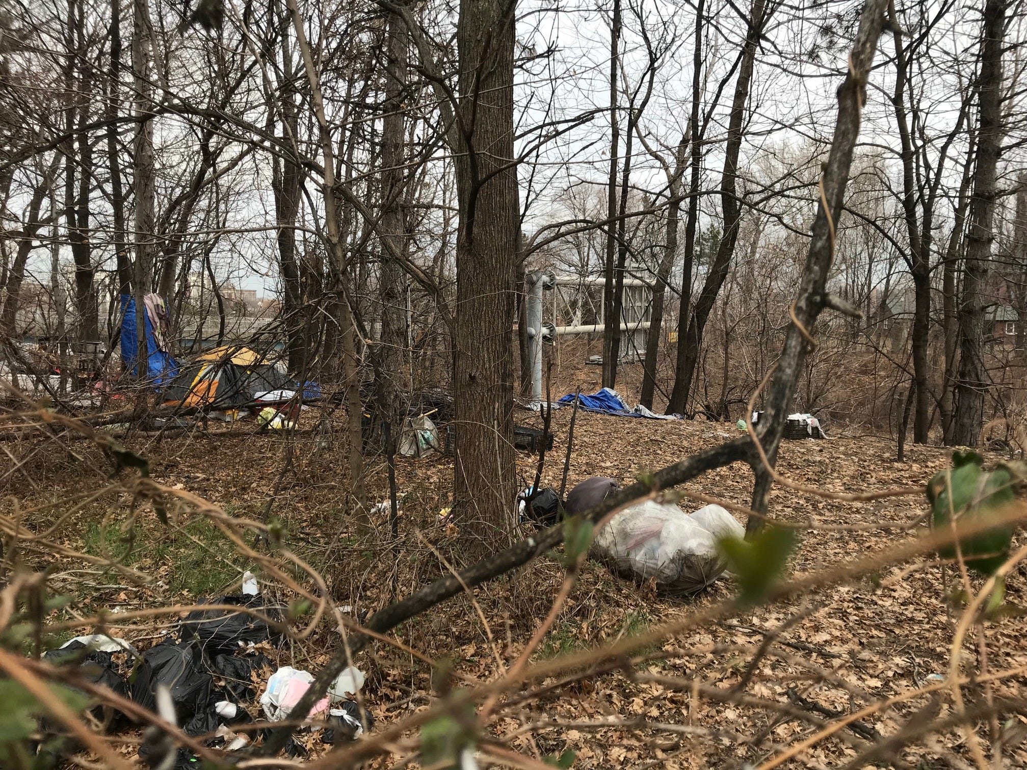 Another look at where homeless set up camp between Route 21 and Veteran's Par in Passaic.