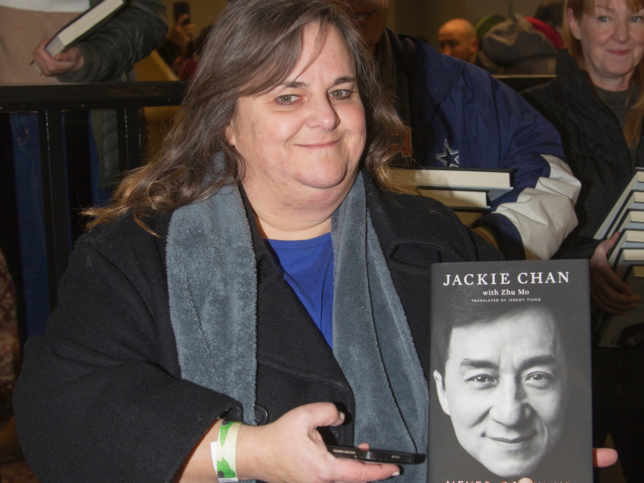 """Heather. Jackie Chan greets fans at Bookends in Ridgewood while signing his new book, """"Never Grow Up."""" 01/21/2019"""
