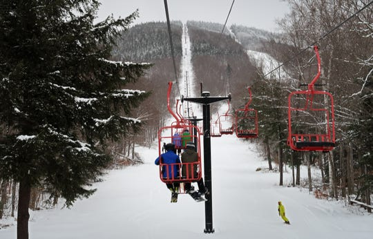 The 5,350 foot long Red Chair at Magic Mountain Ski Area in Londonderry, Vermont on January 10, 2019. The chair takes skiers and riders 1,500 vertical feet up the mountain. Photo by Martin Griff