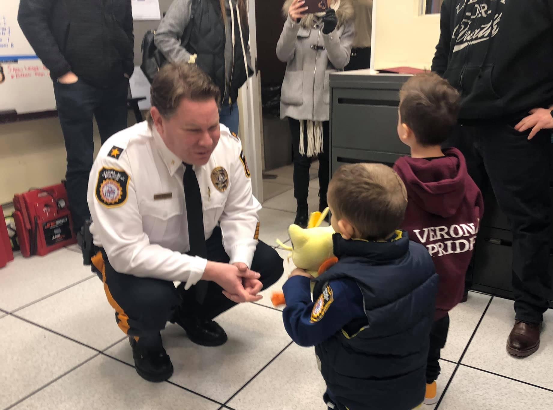 Verona Police Chief Chris Kiernan meets with Micco LaRosa and his family Jan. 20, 2019.