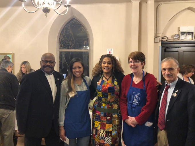 "Montclairions who helped make the ""Shutdown Social"" happen were Jerry Wallace, Carsen Mata, councilwoman Renee Baskerville, Ann Mernin and councilman Bob Russo. January 22, 2019."
