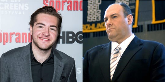 Michael Gandolfini, left, has been cast to play Tony Soprano, a character made famous by his father James Gandolfini, right.