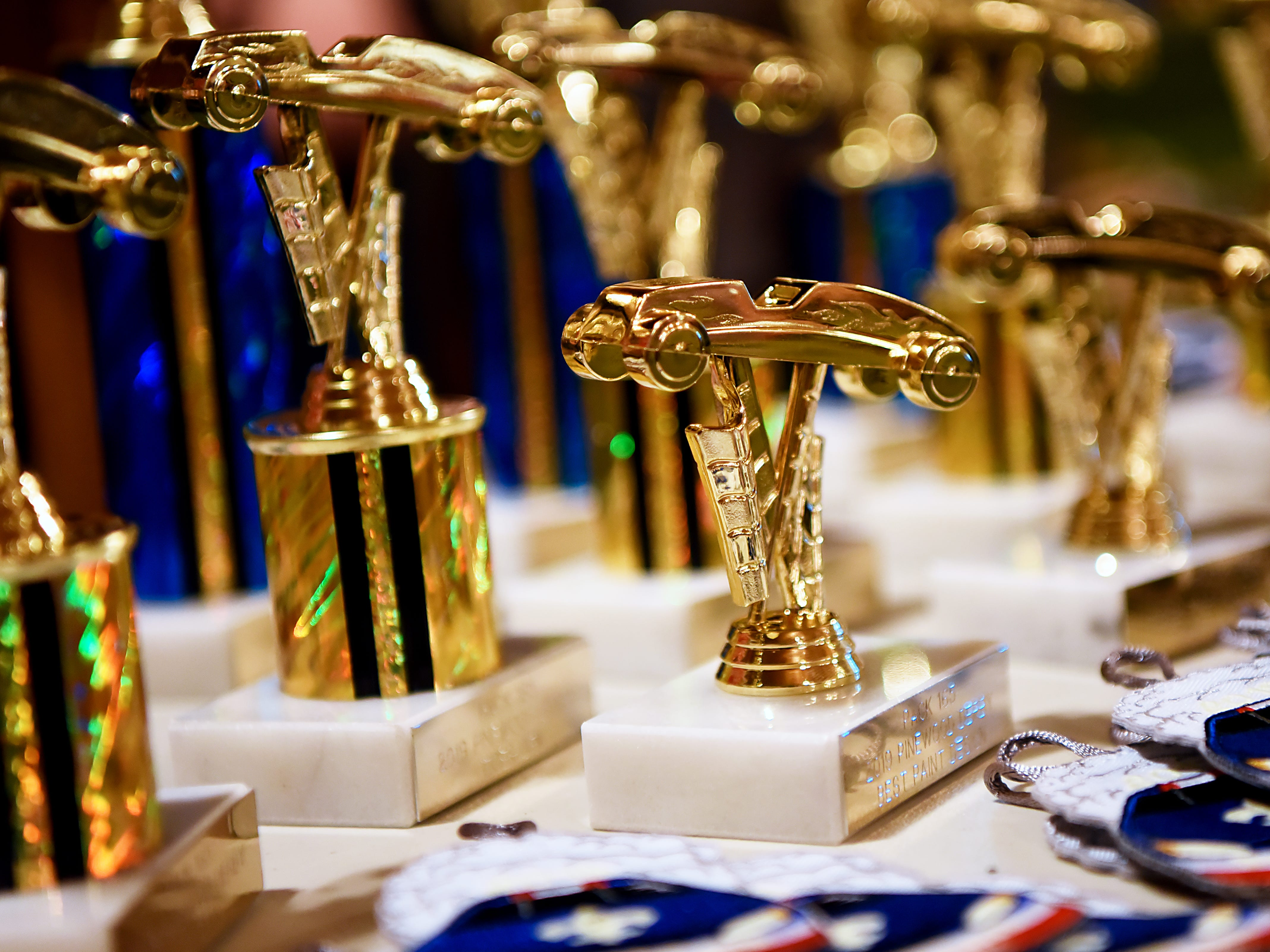 Trophies at the Morris County Pinewood Derby at Holy Trinity Lutheran Church in Rockaway on Friday January 18, 2019.