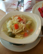 Tenafly Diner's hearty matzo ball soup