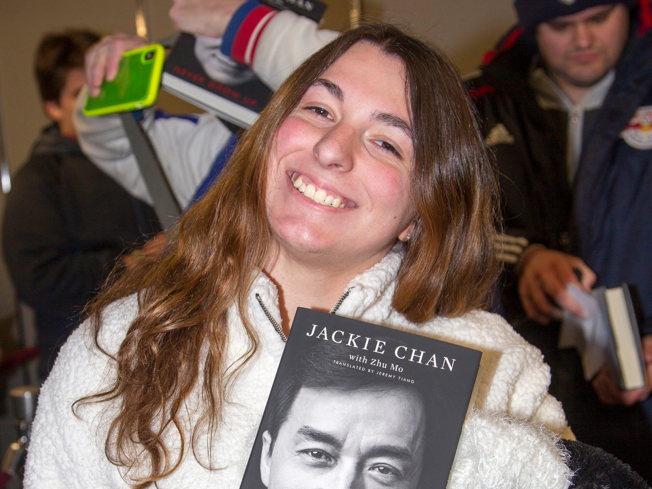 """Lauren. Jackie Chan greets fans at Bookends in Ridgewood while signing his new book, """"Never Grow Up."""" 01/21/2019"""