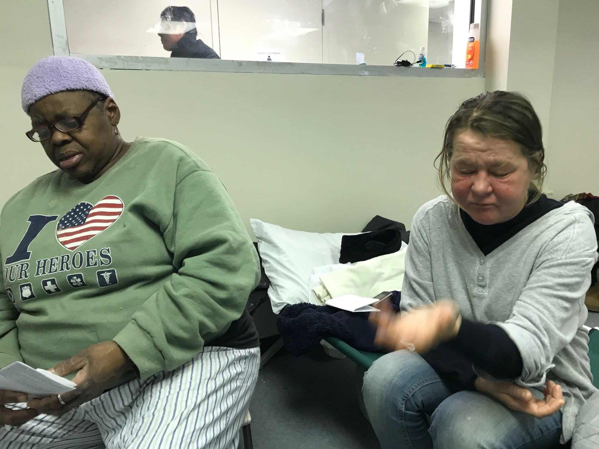 Two homeless woman were at Passaic's homeless shelter on Wednesday. They are Judy Bell (left) and Jadwaga Procil.