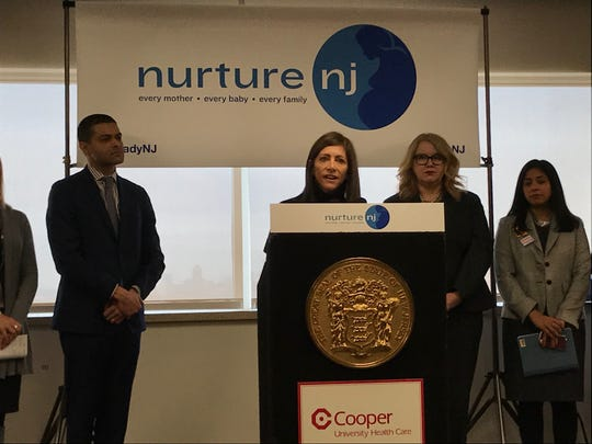 First lady Tammy Murphy speaks at a news conference on maternal health at Cooper University Health Care in Camden on Jan. 23, 2019.