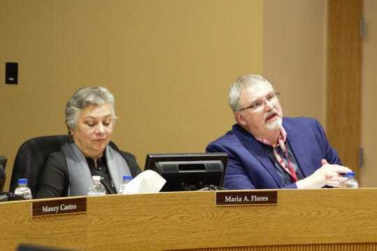 From left, school board member Maria Flores and Las Cruces Public Schools Superintendent Greg Ewing at a school board meeting on Tuesday, Jan. 22, 2019/