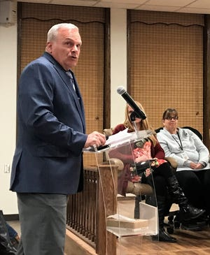 Alamogordo High School Principal Ken Moore presents his case for having AHS becoming a secure campus. at the regular APS Board of Education meeting Jan. 16.