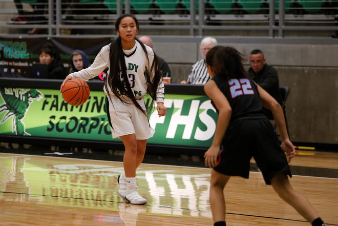 Farmington's Kiiyani Anitielu looks to move the ball toward the post against Sandia's Savanna Lawson during Friday's game at Scorpion Arena in Farmington. FHS is ranked eighth in the latest 5A poll.