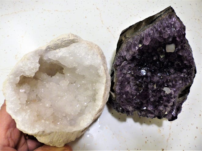 Amethyst and calcite crystal formations always are favorites of shoppers.