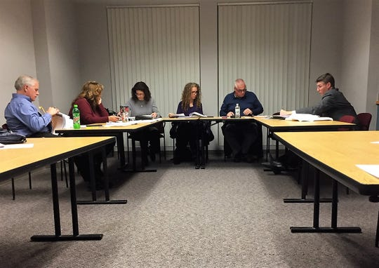 Pictured (from left) are South Lyon City Manager Paul Zelenak, Clerk Lisa Deaton, Ethics Board member Suzanne Muscat, Ethics Board member Angela Baker, Ethics board member Don Beagle and South Lyon City Attorney Timothy Wilhelm during the Jan. 22 meeting to review the case against council member Carl Richards.