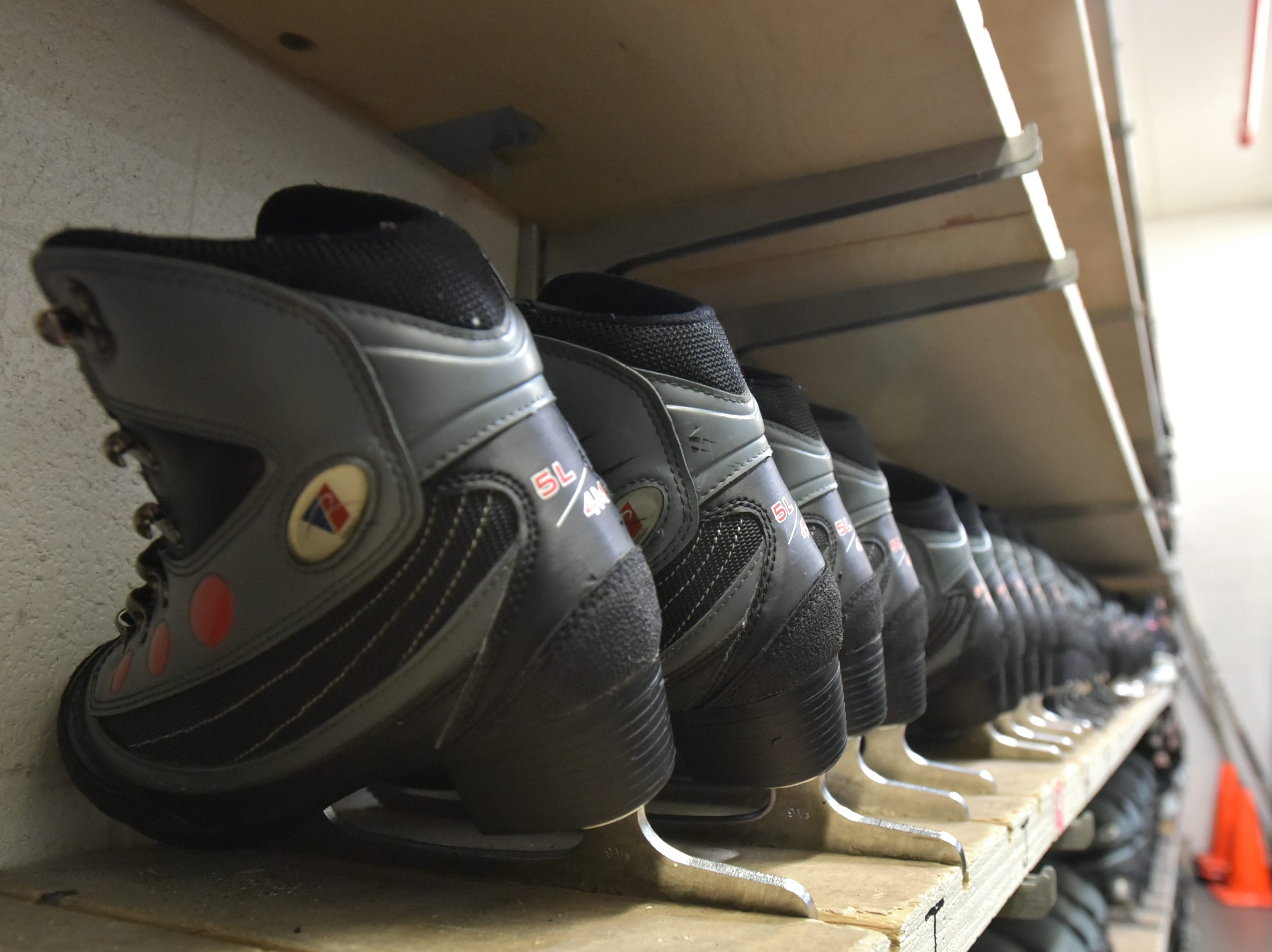 Many pairs of rental ice skates await users at the Novi Ice Arena on Jan. 23. Skates can be rented for $3 a visit.