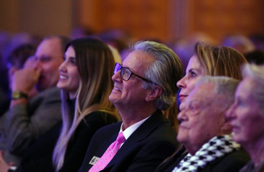 Attendees listen as former Governor of New Jersey, Chris Christie, speaks during the Desert Town Hall in Indian Wells on Tuesday, January 22, 2019.