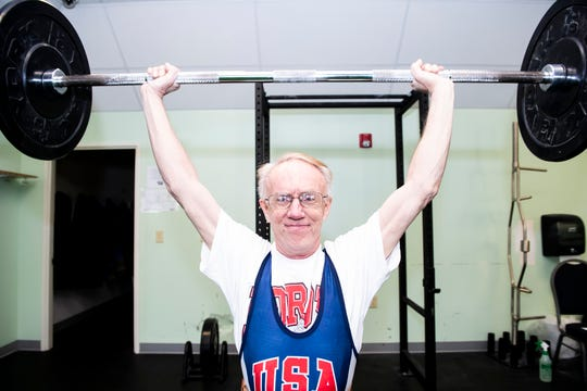 Glenn Murphy Jr., 59, lifts 75 pounds during a workout session at the Gettysburg YWCA on Tuesday, January 22, 2019. Murphy has won 18 gold medals at USA Weightlifting National competitions and six gold medals at Pan American weightlifting competitions. He was inducted into the USA Weightlifting Hall of Fame in 2010.