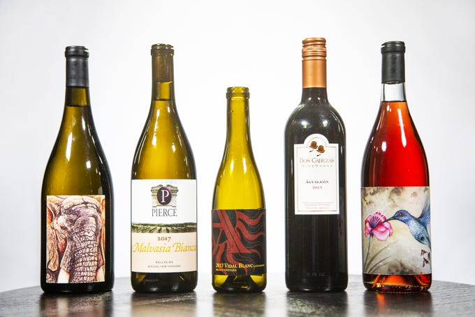 The winners of the 2018 azcentral Arizona Wine Competition (from left): Burning Tree Cellars Trademarked 2017, tied for Best White Wine. Bodega Pierce Malvasia Bianca 2017, tied for Best White Wine. Arizona Stronghold Vineyards Late Harvest Vidal Blanc 2017, Best Dessert Wine. Dos Cabezas WineWorks Aguileon 2015, Best Red Wine and Best in Show. Burning Tree Cellars Colibri Rose 2017, Best Rose.