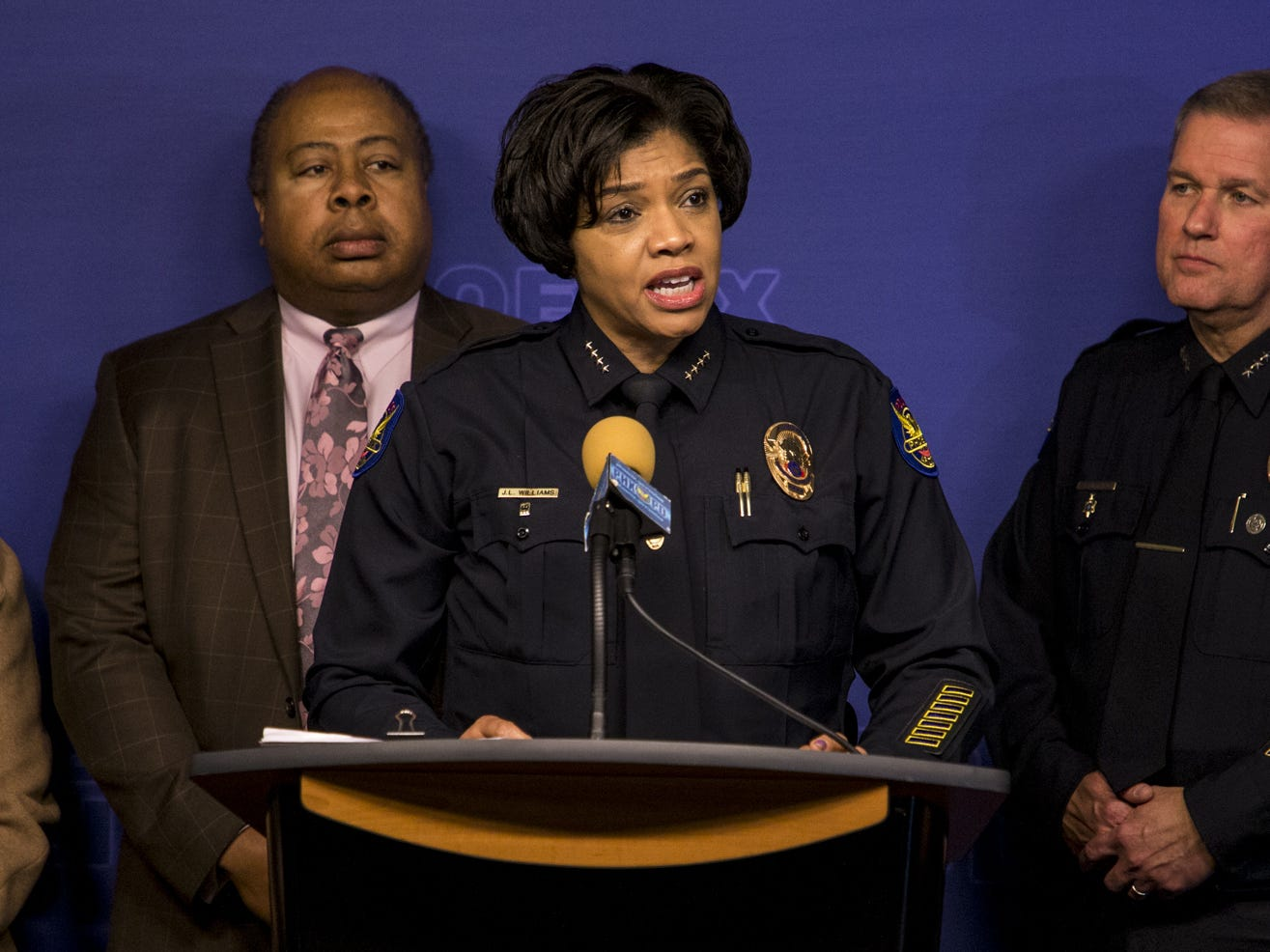 Phoenix Police Chief Jeri Williams speaks during a press conference regarding the arrest of a suspect in the Hacienda rape case, Jan. 23, 2019, at Phoenix Police Headquarters.