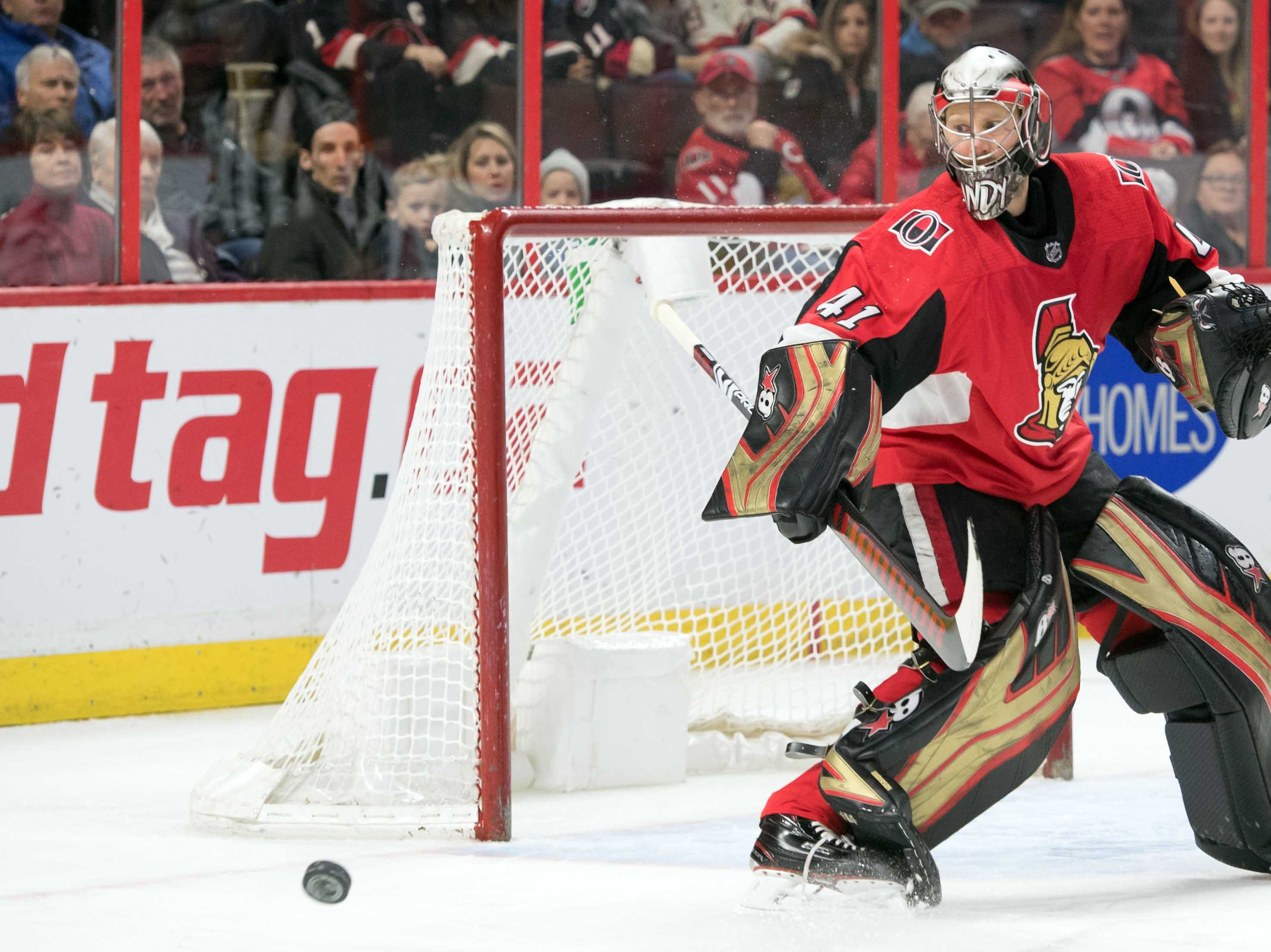 Jan 22, 2019; Ottawa, Ontario, CAN; Ottawa Senators goalie Craig Anderson (41) makes a save in the first period against the Arizona Coyotes at the Canadian Tire Centre. Mandatory Credit: Marc DesRosiers-USA TODAY Sports