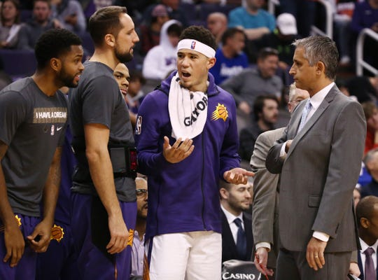 Phoenix guard Devin Booker and head coach Igor Kokoskov react to a technical foul has called on the Suns against the Minnesota Timberwolves in the first half on Jan. 22 at Talking Stick Resort Arena.
