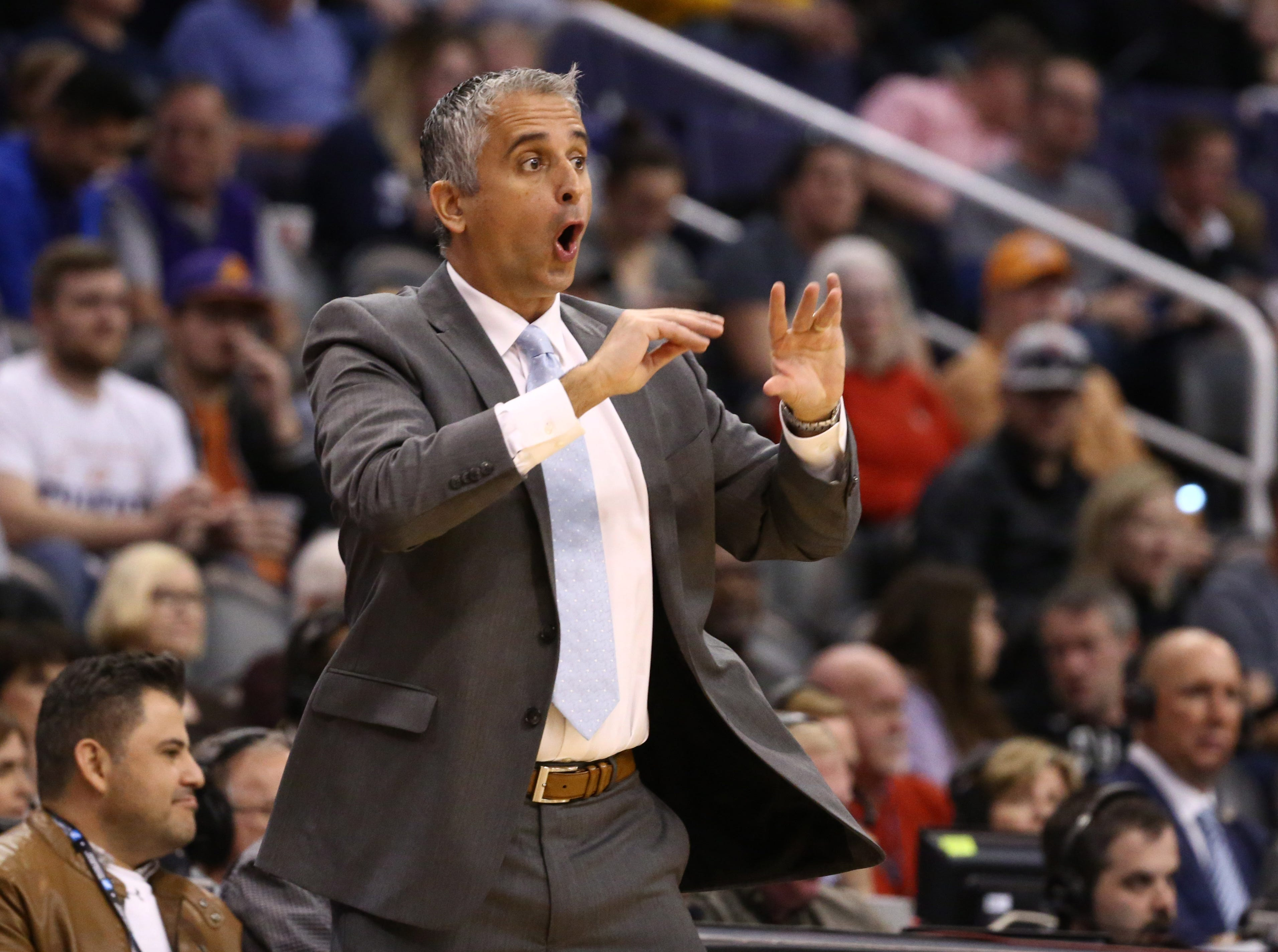Phoenix Suns head coach Igor Kokoskov reacts to the action against the Minnesota Timberwolves in the first half on Jan. 22 at Talking Stick Resort Arena.