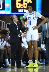 UCLA Bruins interim head coach Murry Bartow talks with UCLA Bruins center Moses Brown (1) in the second half of the game against the California Golden Bears at Pauley Pavilion Jan 5.. ayne Kamin-Oncea-USA TODAY Sports