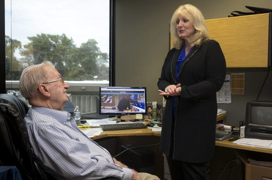 Pam Griffin (right) talks with her dad, Dries Bosch, January 14, 2019, in their office at Griffin Group International, 2398 E Camelback Road, Phoenix.